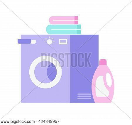 Flat Icon With Washing Machine Bottle Of Detergent And Linen Vector Illustration