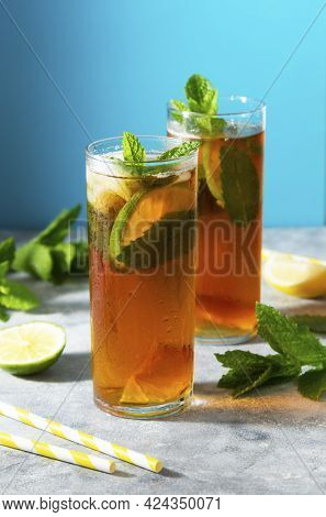 Cold Tea, Summer Refreshing Drink With Mint Leaves And Lemon