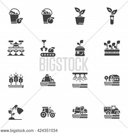 Agriculture, Farming Vector Icons Set, Modern Solid Symbol Collection, Filled Style Pictogram Pack.