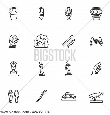 Museum Gallery Line Icons Set, Outline Vector Symbol Collection, Linear Style Pictogram Pack. Signs,