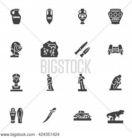 Museum Gallery Vector Icons Set, Modern Solid Symbol Collection, Filled Style Pictogram Pack. Signs,