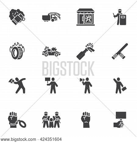 Protest, Demonstration Vector Icons Set, Modern Solid Symbol Collection, Filled Style Pictogram Pack