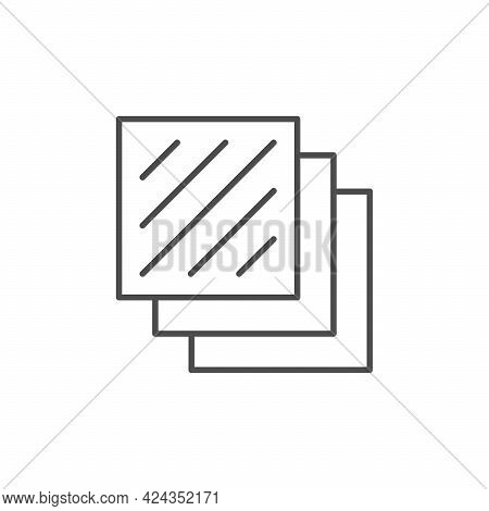 Layered Material Line Outline Icon Isolated On White