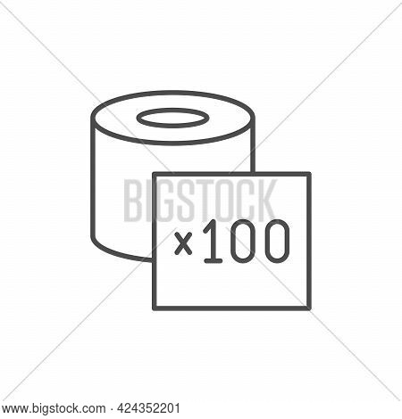 Toilet Paper Pieces Line Icon Isolated On White