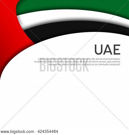 Abstract Waving Flag Of United Arab Emirates. Paper Cut Style. Creative Background For Design Patrio