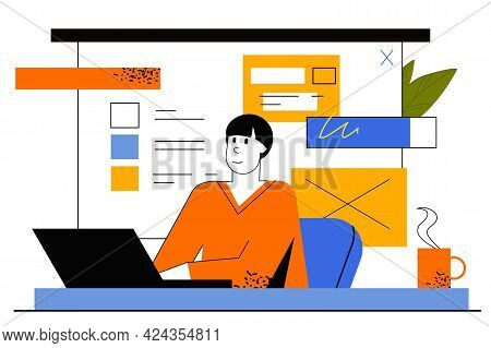 Freelance Work Web Concept. Freelancer Works On Laptop In Home Office. Remote Employee Performs Work
