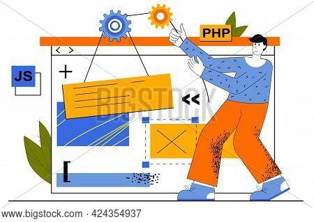 Web Development Concept. Developer Creates Layout Of Site, Programming At Different Languages, Place