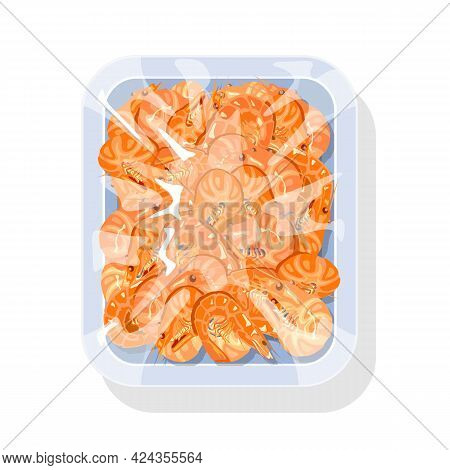 Cartoon Package Of Fresh Iced Shrimps, Prawn With Shell, Nutritious Meat. Vector Raw Ingredient For