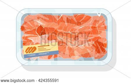 Cartoon Tray Of Salmon Pieces And Slices, Sushi Ingredient, Organic Eco Fish Product. Vector Deliver