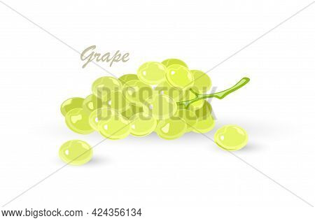 Bunch Of Green Grapes With Leaves. Fruit With Sweet Or Sour Flavour Using For Vegan, Vegetarian Kitc