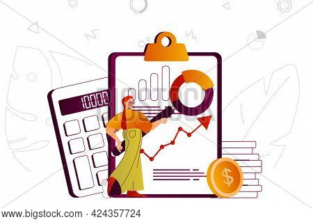 Financial Audit Web Concept. Accountant Analyzes Financial Statistics Of Company. People Scene With