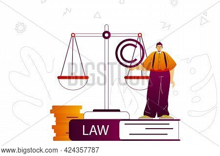 Law Company Web Concept. Lawyer Or Attorney Services, Business Law, Legal Rules. People Scene With F