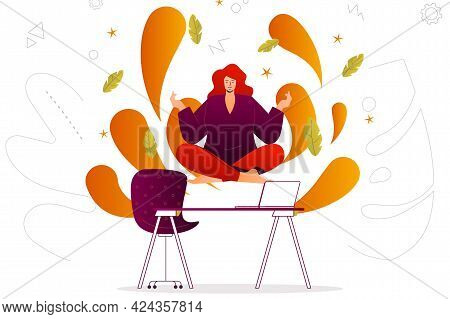 Meditation Web Concept. Woman Flying In Lotus Position Relaxes In Office Or Home. People Scene With