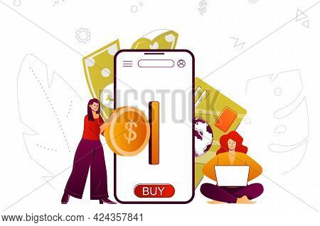 Mobile Banking Web Concept. Money Transaction And Accounting In Smartphone App. People Scene With Fl