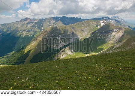 Panoramic View Of High Peaks Of National Park Of Monti Sibillini In The Marche Region, Italy