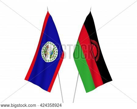 National Fabric Flags Of Malawi And Belize Isolated On White Background. 3d Rendering Illustration.