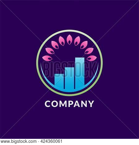 Mindful Saving Logo Design Concept With Pink Lotus Petals Shape And Blue Bar Chart Inside A Green Ci
