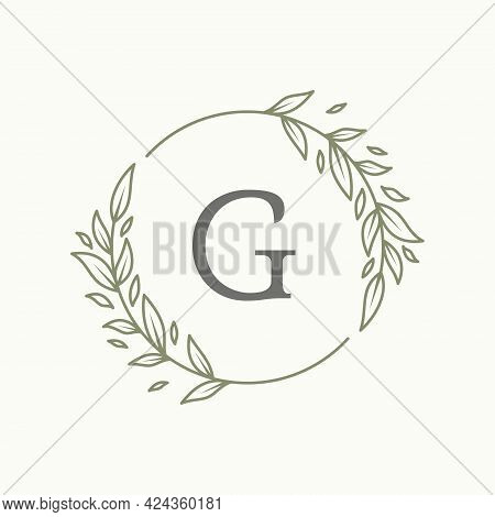 Initial G Letter With Floral Ornament For Your Best Business Symbol. Vector Illustration Eps.8 Eps.1
