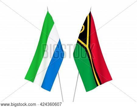 National Fabric Flags Of Sierra Leone And Republic Of Vanuatu Isolated On White Background. 3d Rende