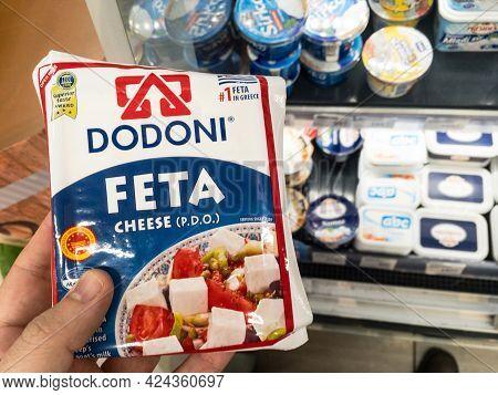 Belgrade, Serbia - June 1, 2021: Logo Of Dodoni Dairy Industry On A Feta Cheese For Sale In Belgrade