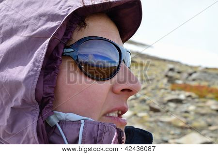 Profile Of Hiker With Goggles