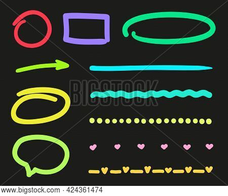 Colorful Neon Elements On Isolated Black Background. Glowing Signs For Design. Night Party. Freehand