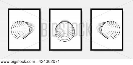 Line Art Poster Mockup Set. 3D Circles Vector Posters. Minimal 3D Art Style. Empty Wall Mock Up. Abs