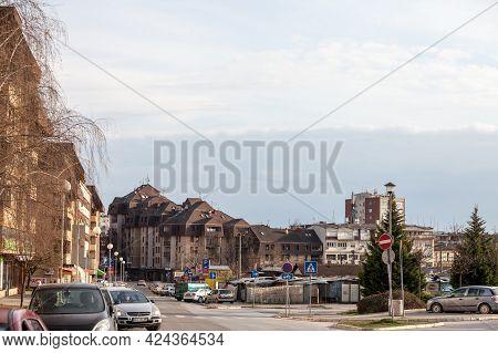 Mladenovac, Serbia - March 28, 2021: City Center Of Mladenoac, Serbia, With The Local Green Market (