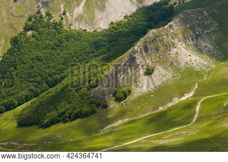Etails Of Green Valley With Wood In The National Park Of Monti Sibillini, Marche, Italy