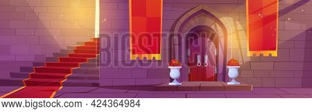 Medieval Castle Interior, Wooden Arched Door With Potted Flowers, Stone Stairs With Red Carpet And B