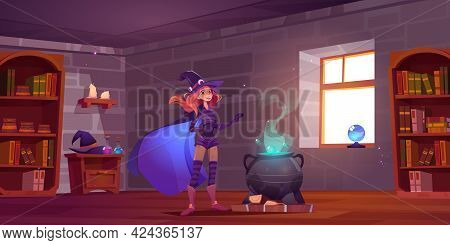 Witch Cooking Potion In Magic School, Cute Enchantress Fantasy Character In Hat, Costume And Cape St