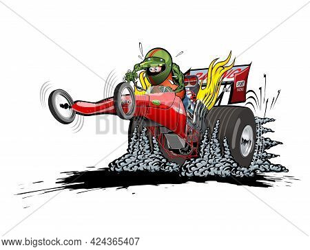 Cartoon Dragster On White Background. Available Eps-10 Vector Format Separated By Groups And Layers