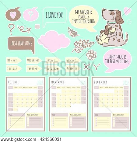 Dog Planner Winter 2022 Template Schedule And Collection With Design Elements For A Three Months For