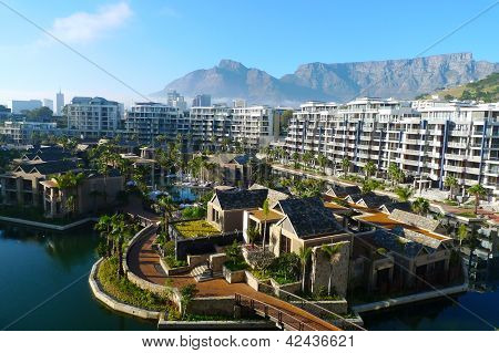 One and only hotel and view of Table mountain in Cape Town, South Africa