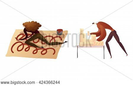 Creative Man And Woman Engaged In Handicraft Painting With Brush And Making Building Model Vector Se