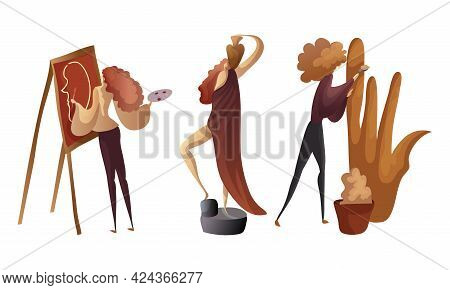 Creative Woman Engaged In Handicraft Drawing And Making Sculpture Vector Set