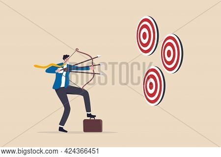 Multitasking Or Multiple Purpose Strategy, Aiming For Many Targets Or Goal, Skillful Professional To