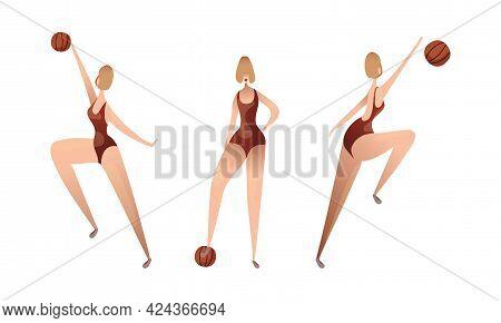 Slender Female In Swimsuit Playing Basketball Vector Set