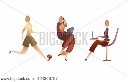 Slender Female Playing Ball And Speaking By Phone At Laptop Vector Set
