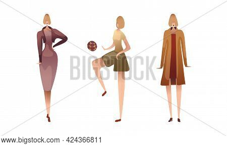 Slender Female Standing And Playing Ball Vector Set