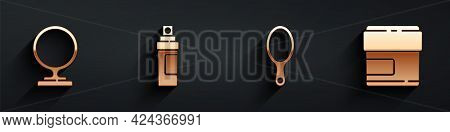 Set Round Makeup Mirror, Perfume, Hand Mirror And Cream Or Lotion Cosmetic Tube Icon With Long Shado