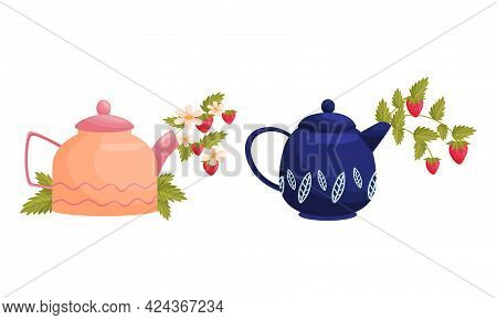 Teapot With Lid And Spout With Blooming Flowers Peeped Out Vector Set