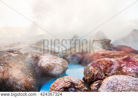 Sol De Manana Geysers And Fumaroles In Altiplano Plateau, Bolivia. Fantastic Landscapes Of South Ame