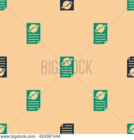 Green And Black Firearms License Certificate Icon Isolated Seamless Pattern On Beige Background. Wea