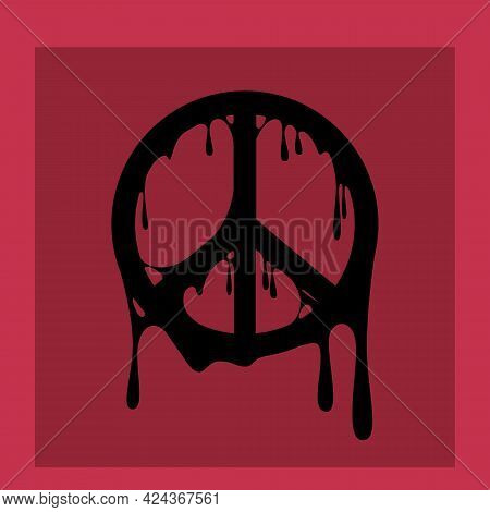 The Image Of Wallpaper In The Form Of A Hippie Icon On A Burgundy Background. Vector Illustration.