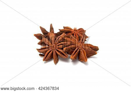 Anise Star Isolated On The White Background