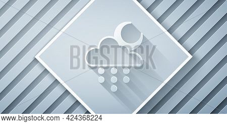 Paper Cut Cloud With Rain And Moon Icon Isolated On Grey Background. Rain Cloud Precipitation With R