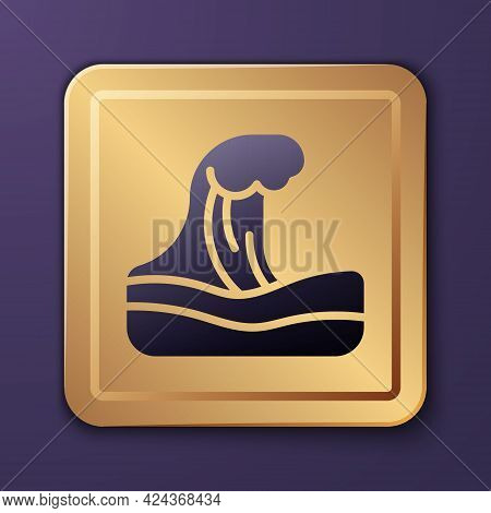 Purple Tsunami Icon Isolated On Purple Background. Flood Disaster. Stormy Weather By Seaside, Ocean