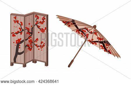 Japan Symbols With Folding Screen And Umbrella With Sakura Ornament Vector Set