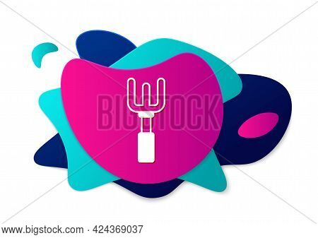 Color Garden Rake Icon Isolated On White Background. Tool For Horticulture, Agriculture, Farming. Gr